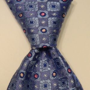 DAVID DONAHUE Mens Silk Necktie Geometric Blue EUC